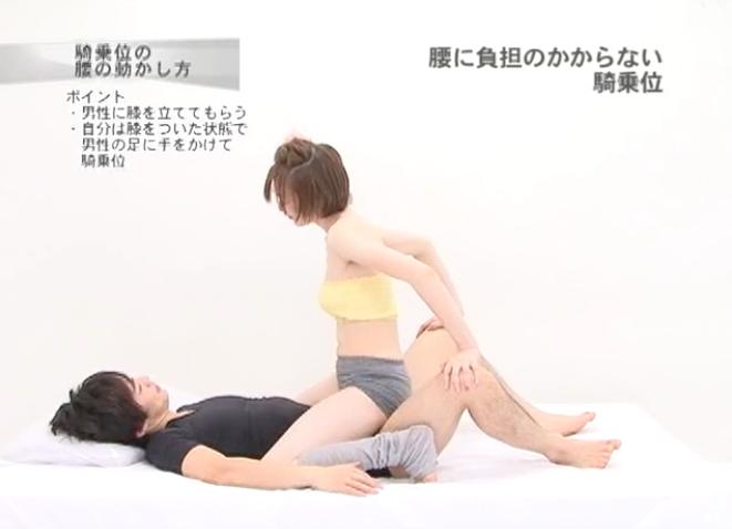 騎乗位の手の位置:腰が疲れたら相手の膝の上に