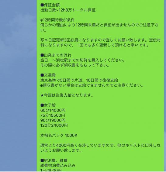 高単価出稼ぎ!8日で約90万稼いだ子の明細公開(浜松静岡高級デリヘル)条件詳細